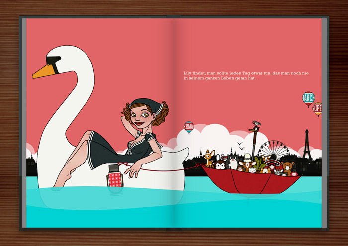 Sonntagsausflug von einem Mädchen im Schwanentretboot mit Schirmboot und Figuren, im Buch Die wunderbare Welt der Lily Lux