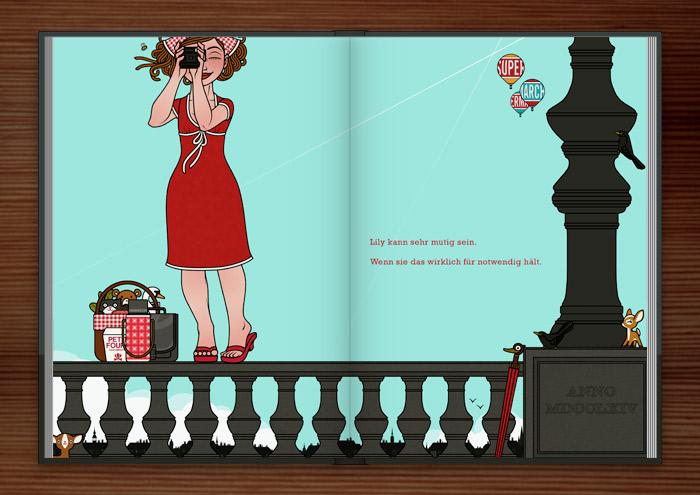 Zeichnung von Mädchen beim Fotografieren auf dem Geländer einer Brücke balancierend Mut im Buch Die wunderbare Welt der Lily Lux