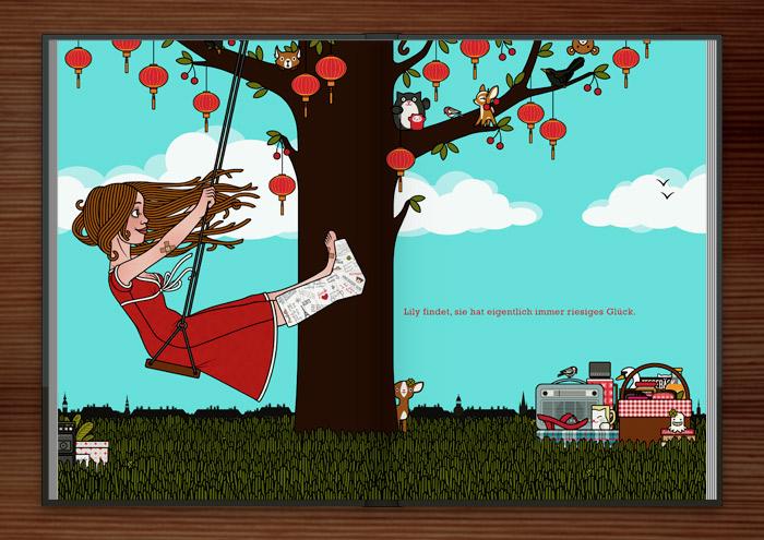 Zeichnung von Mädchen mit Gipsbein auf einer Schaukel am Kirschbaum mit Lampions im Glück im Unglück im Buch Die wunderbare Welt der Lily Lux
