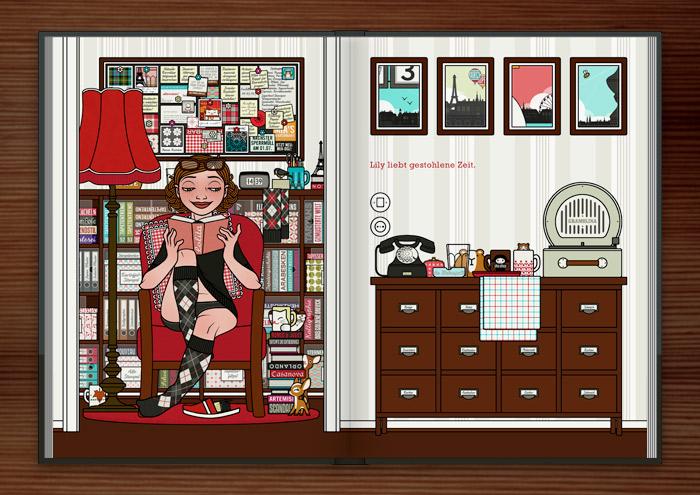 Zeichnung von einem Mädchen bei der Prokrastination zuhause, die sich statt aufzuräumen Zeit stiehlt und gemütlich im Sessel ein Buch liest, im Buch Die wunderbare Welt der Lily Lux