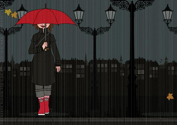 Zeichnung von einem Mädchen beim Regpaziergang mit Mantel, Gummistiefeln und rotem Regenschirm in der dunklen Stadt, für Lily Lux von Iris Luckhaus