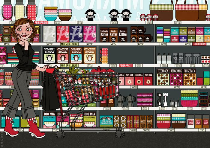 Zeichnung von einem Mädchen beim Einkaufen im Supermarkt mit Einkaufswagen vor Regalen mit Produkten wie Thermoskannen, Picknickkörben, Cornflakes, Müslischalen, Kaffee, Meisenknödeln und Gebäck für Lily Lux von Iris Luckhaus