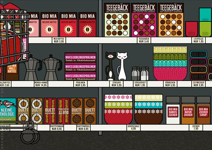 Zeichnung von einem Supermarkt mit Regalen und Produkten wie Thermoskannen, Picknickkörben, Cornflakes, Müslischalen, Kaffee, Meisenknödeln und Gebäck für Lily Lux