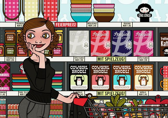 Ausschnitt aus der Zeichnung von einem Mädchen beim Einkaufen im Supermarkt vor Regalen mit Produkten wie Thermoskannen, Cornflakes, Kaffee und Gebäck für Lily Lux