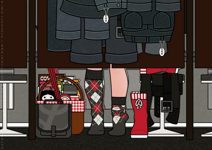 Ausschnitt aus Zeichnung von einem Mädchen beim Einkaufen und Anprobieren von Jeans vor dem Spiegel einer Umkleidekabine für Lily Lux
