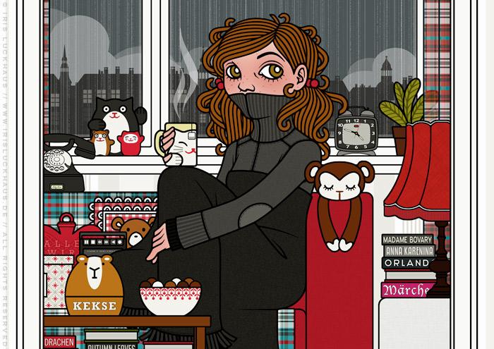 Ausschnitt aus der Zeichnung von einem Mädchen bei Ihrer Zuflucht vor Weltschmerz, auf dem Sofa mit Tee, Hörspiel, Strickjacke und Wolldecke, für Lily Lux