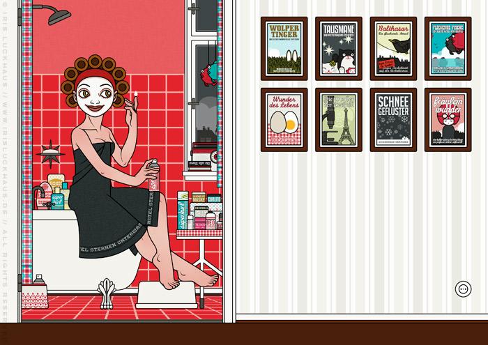 Zeichnung von Mädchen in Badetuch, Gesichtsmaske und Lockenwicklern, das bei der Körperpflege auf dem Badewannenrand im roten Badezimmer sitzt und über die Wunder der Kosmetik staunt, für Lily Lux von Iris Luckhaus