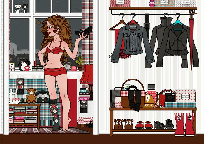 Zeichnung von einem Mädchen in Unterwäsche, das Verspätung für eine Verabredung hat und dessen Anziehsachen und Dinge wie Schuhe, Socken, Schlüssel, Handtasche, Lippenstift oder Telefon sich wie in einem Suchbild überall verstecken, für Lily Lux von Iris Luckhaus
