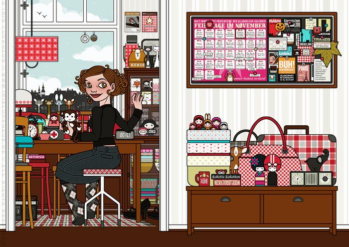 Zeichnung eines Mädchens, das am Küchentisch in der Küche gefundene Dinge und Stofftiere näht, klebt und repariert, für Lily Lux von Iris Luckhaus