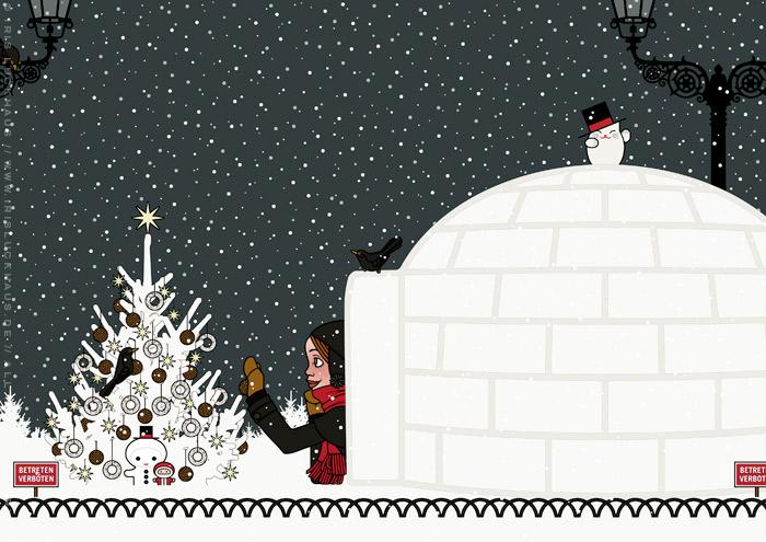 Illustration von einem Mädchen, das sich im Schnee vor lauter Begeisterung einen Iglu gebaut hat und nun mit einer Amsel einen Tannenbaum mit Meisenknödeln schmückt, für Lily Lux