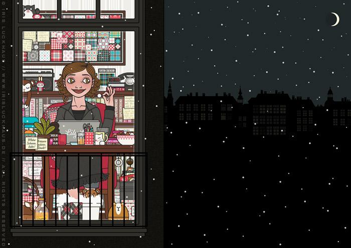Zeichnung von einem Mädchen, das spät in der Nacht am Schreibtisch am Macbook oder Laptop arbeitet und dabei einen gemütlichen Sessel, Fußbad, Schokolade, Pralinen und Tee genießt, für Lily Lux