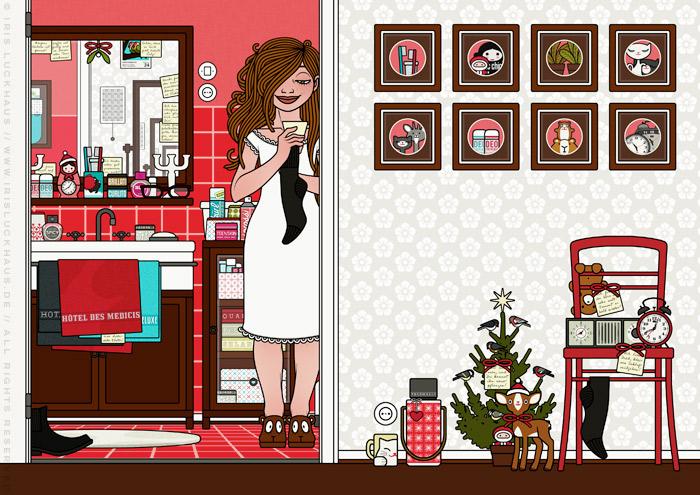Zeichnung von einem Mädchen, das im Nachthemd mit einer Herrensocke un einem Zettel in der Badezimmertür steht und nach weiteren Spuren ihres Liebsten sucht, für Lily Lux von Iris Luckhaus