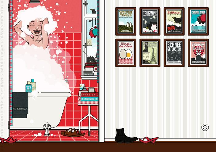 Zeichnung von Mädchen beim Singen unter der Dusche mit viel Schaum in Haar und Badewanne im roten Badezimmer für Lily Lux von Iris Luckhaus