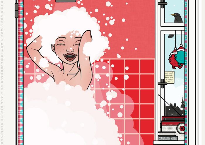 Ausschnitt aus Zeichnung von Mädchen beim Singen unter der Dusche mit viel Schaum in Haar und Badewanne im roten Badezimmer für Lily Lux