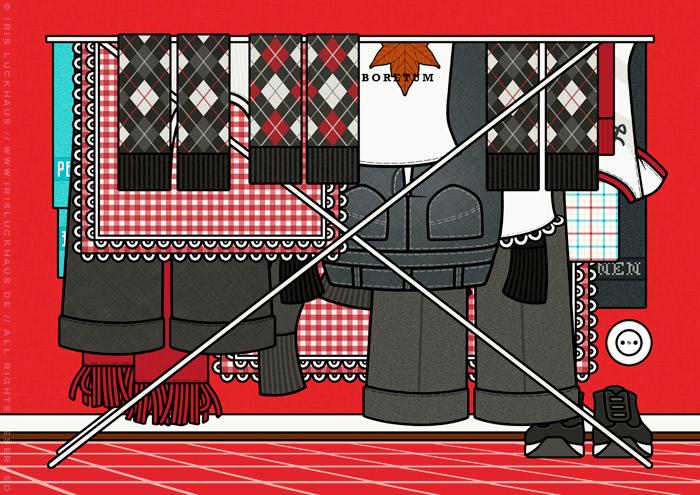 Zeichnung von allen Kleidern, die man so braucht um sich neu zu erfinden, auf dem Wäscheständer, für Lily Lux