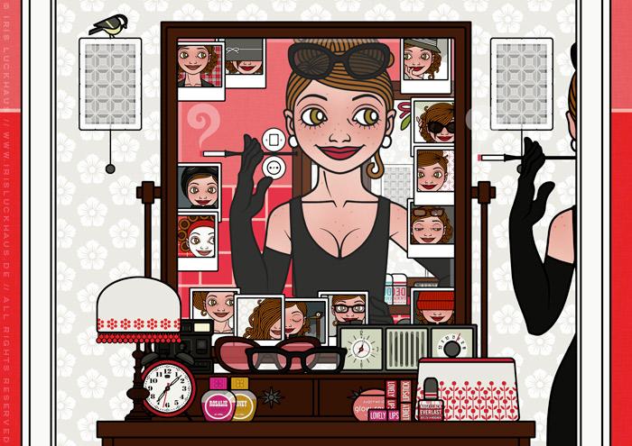 Ausschnitt aus Zeichnung von einem Mädchen, das sich vor dem Spiegel neu erfindet und als Dame im schicken schwarzen Abendkleid mit eleganten Handschuhen wie Holly Golightly eine mondäne Zigarettenspitze hält, für Lily Lux