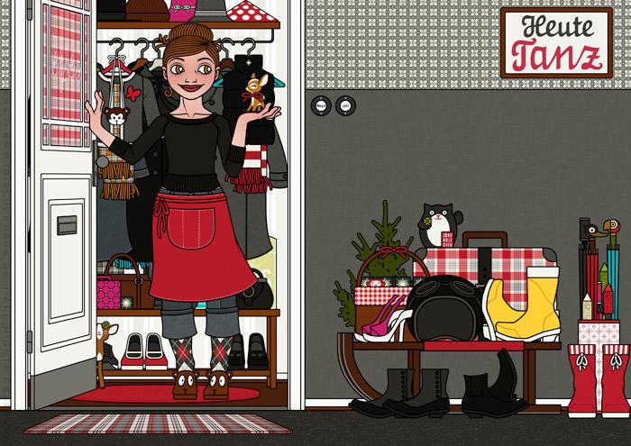Illustration von einem Mädchen, die in einer Schürze die Tür öffnet, ihre Gäste zu Feier, Essen oder Party empfängt und ein kleines Reh mit Schleifchen als Geschenk mitgebracht bekommt, für Lily Lux von Iris Luckhaus