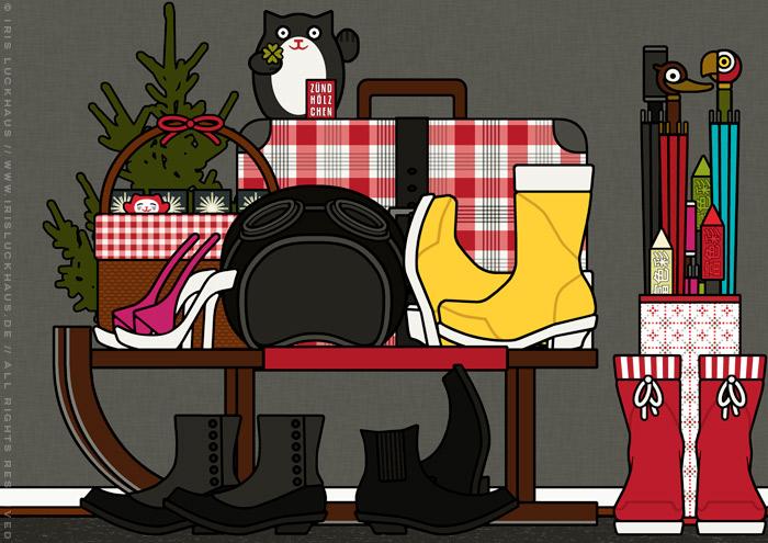 Zeichnung von Kleidung, Mänteln, Jacken, Schuhen und Motorradhelm von Gästen vor der Wohnungstür, für Lily Lux von Iris Luckhaus