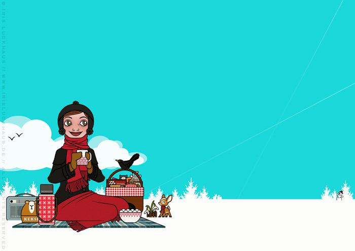 Illustration eines Mädchens, die zur Feier des ersten Schneeglöckchens ein Picknick im Schnee veranstaltet, für Lily Lux