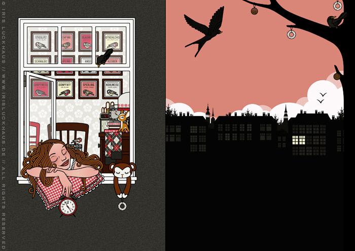 Zeichnung eines Mädchens im Schlaf mit mit Kissen und Wecker auf dem Fensterbrett ihres Schlafzimmers beim Vogelkonzert am Morgen im Frühling für Lily Lux von Iris Luckhaus
