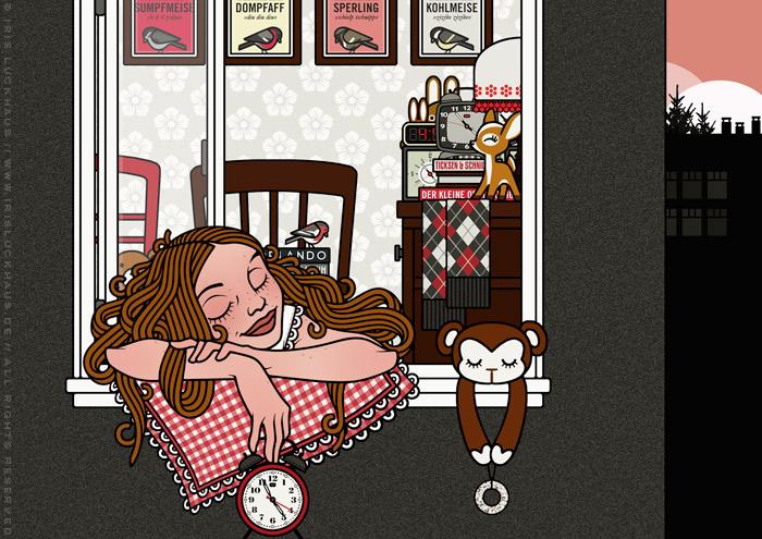 Ausschnitt aus der Zeichnung eines Mädchens im Schlaf mit mit Kissen und Wecker auf dem Fensterbrett ihres Schlafzimmers beim Vogelkonzert am Morgen im Frühling für Lily Lux