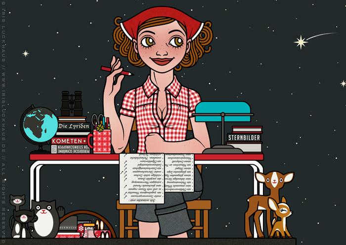 Ausschnitt aus der Zeichnung von einem Mädchen, das mit Schreibtisch, Stuhl, Tischlampe, Globus, Fernglas und Büchern bei Nacht auf einem Dach sitzt, Stenschnuppen beoachtet und Wünsche auf einer Liste abhakt, für Lily Lux