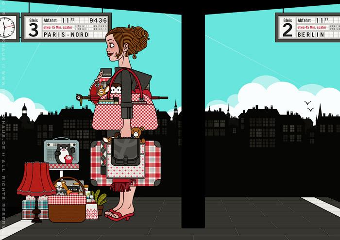 Zeichnung von einem Mädchen am Bahnhof, das mit viel Gepäck, Taschen, Koffern, Schirm, Lampen, Radio, Hocker und Figuren auf die Reise im Zug nach Paris wartet, für Lily Lux von Iris Luckhaus