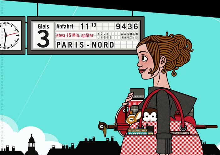 Ausschnitt aus Zeichnung von einem Mädchen am Bahnhof, das mit viel Gepäck, Taschen, Koffern, Schirm, Lampen, Radio, Hocker und Figuren auf die Reise im Zug nach Paris wartet, für Lily Lux