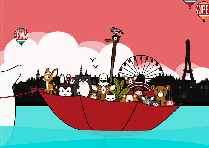 Zeichnung vom Sonntagsausflug mit Schirmboot und Figuren wie Reh, Affe, Winkekatze, Geistchen, Murmeltier, Hamster, Puppe, Teddybär, Ziege und Katzenstreuer auf dem See vor der Stadt für Lily Lux
