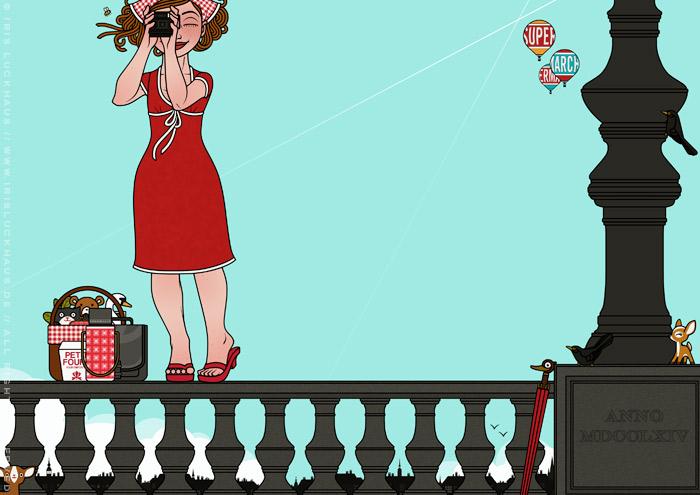 Zeichnung von Mädchen beim Fotografieren auf dem Geländer einer Brücke balancierend für Mut oder Tollkühnheit für Lily Lux von Iris Luckhaus