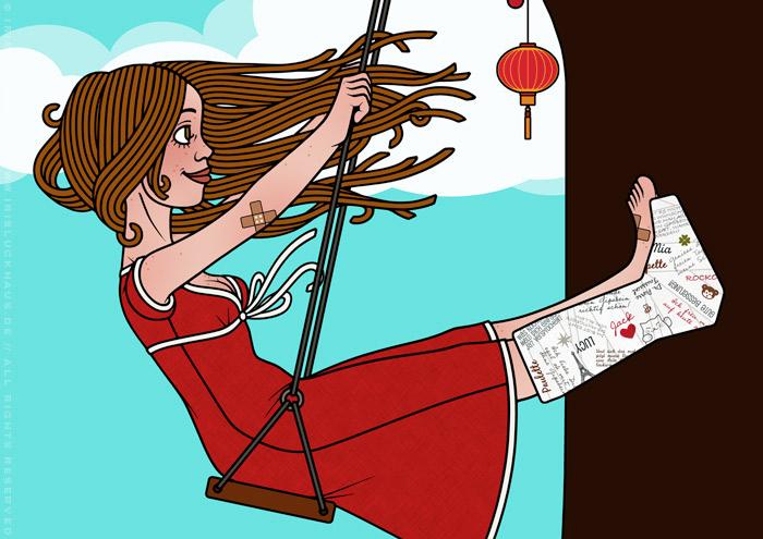 Ausschnitt aus Zeichnung von Mädchen mit Gipsbein auf einer Schaukel am Kirschbaum im Glück im Unglück für Lily Lux