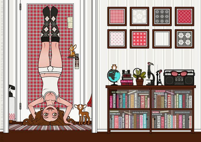 Zeichnung von einem Mädchen, das im Kopfstand, mit Herrenunterwäsche und Tapeten als gerahmte Bilder den Blinkwinkel oder die Perspektive wechselt, für Lily Lux von Iris Luckhaus