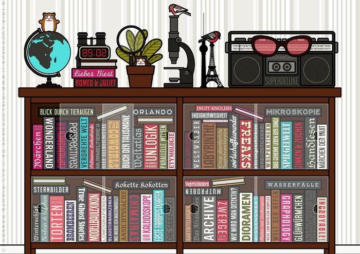 Bücherregal mit Details, Mikroskop, Fernglas, Lupe, Spiegel, Globus, Telefon und Buchtiteln zum Perspektivwechsel aus der Szene mit einem Mädchen, das im Kopfstand den Blinkwinkel wechselt, für Lily Lux