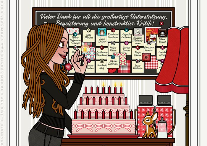 Ausschnitt aus der Zeichnung von einem Mädchen, das sich zusammen mit seinen Freunden und Figuren ganz höflich mit Torte, Zetteln und Karten bei Helfern bedankt – Vielen Dank für all die großartige Unterstützung, Begeisterung und konstruktive Kritik – , diese feiert und Kerzen anzündet, für Lily Lux