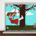 Lily Lux Wallpaper mit Gipsbein im Sommer