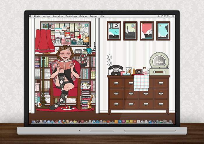 Lily Lux Wallpaper beim Lesen im Sommer