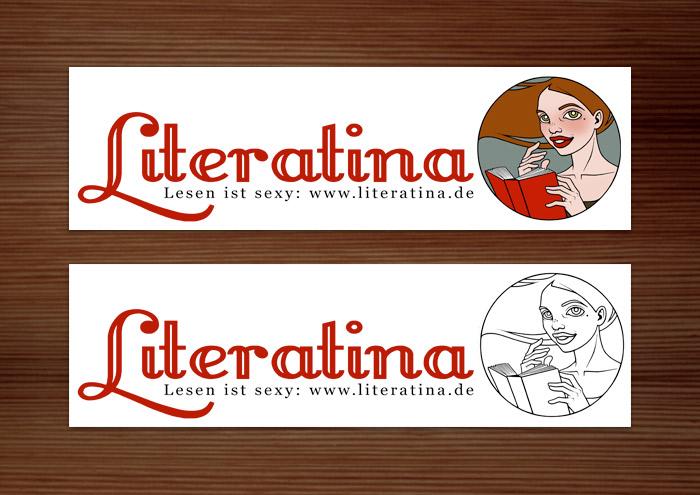 Aufkleber für Literatina mit dem Portrait eines Mädchens, das ein Buch liest, denn Lesen ist sexy