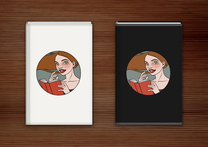 Buchhüllen aus Stoff für Literatina mit dem Portrait eines Mädchens, das ein Buch liest, denn Lesen ist sexy