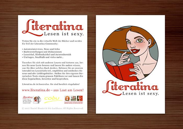 Flyer für Literatina mit dem Portrait eines Mädchens, das ein Buch liest, denn Lesen ist sexy