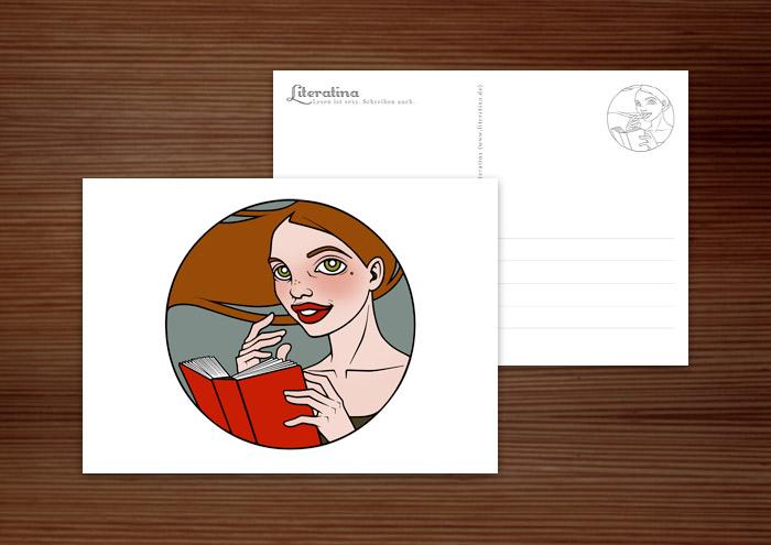 Postkarte für Literatina mit dem Portrait eines Mädchens, das ein Buch liest, denn Lesen ist sexy