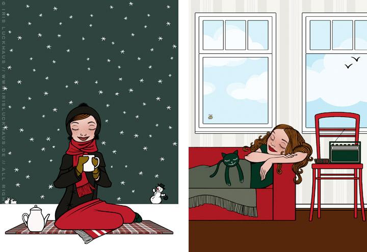 Zeichnung von einem Mädchen beim Picknick im Schnee und beim Nickerchen auf dem Sofa, für Lucky Lily von Iris Luckhaus