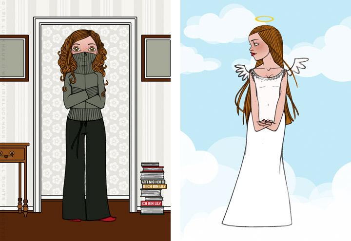 Zeichnung von einem Mädchen mit dem Kragen der Strickjacke bis über die Nase und als Engel verkleidet auf Wolken, für Lucky Lily von Iris Luckhaus