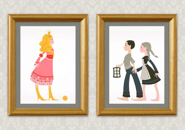 Gerahmte Vektorillustrationen zu Grimms Märchen mit rosa Prinzessin mit goldenem Ball, aber ohne Froschkönig oder Erbse, sowie Hänsel und Gretel, für Ausstellung