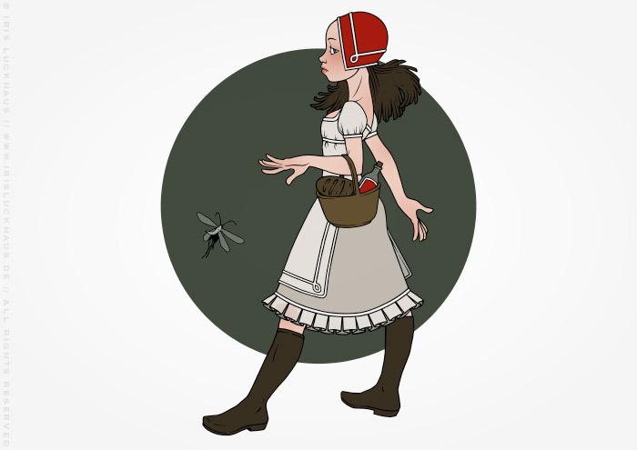 Illustration zu Grimms Märchen mit Rotkäppchen mit Korb unterwegs zur Großmutter