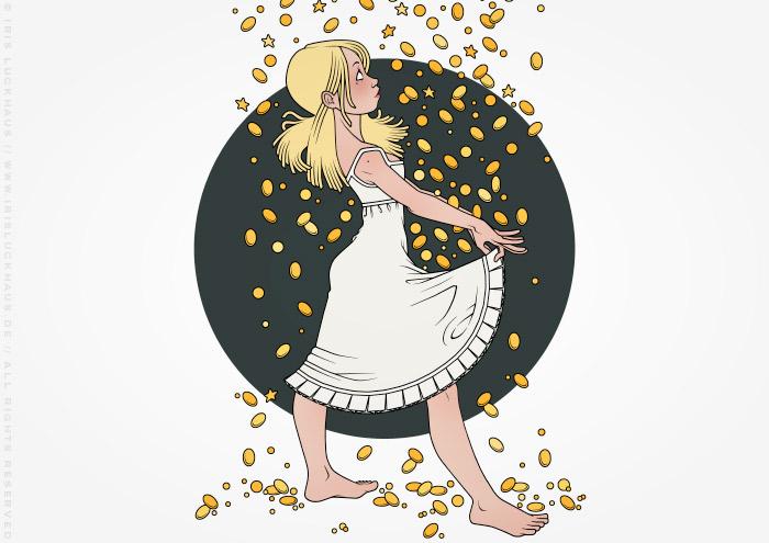 Illustration zu Grimms Märchen mit Sterntaler beim Auffangen von Sternen