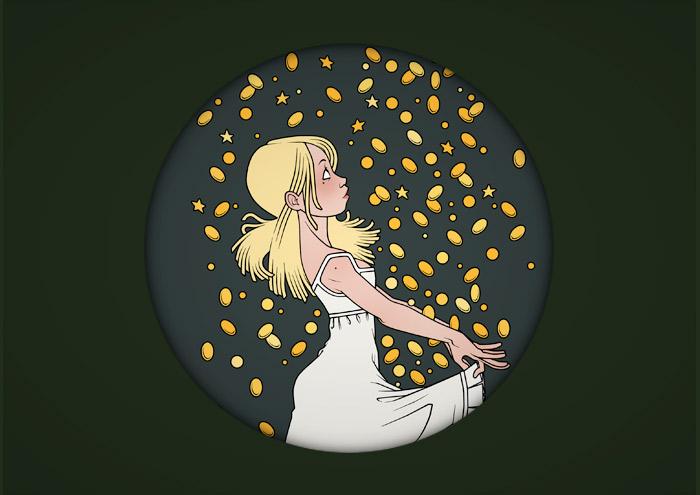 Illustrationen zu Grimms Märchen mit Sterntaler beim Auffangen von Sternen und Münzen im Nachthemd in der Märchenwelten Ausstellung des Goethe Instituts