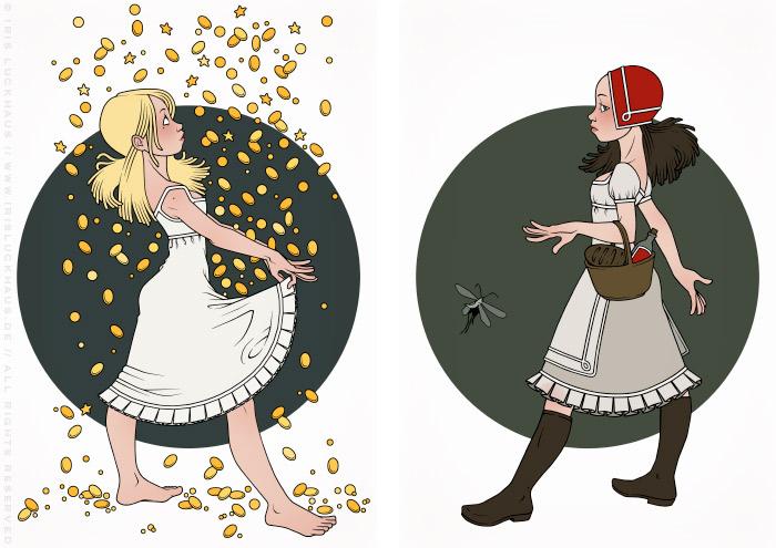 Illustrationen zu Grimms Märchen mit Sterntaler beim Auffangen von Sternen und Münzen im Nachthemd und Rotkäppchen mit Korb unterwegs zur Großmutter