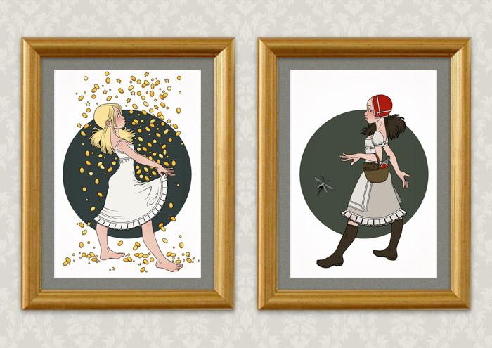Poster der Illustrationen zu Grimms Märchen mit Sterntaler beim Auffangen von Sternen und Münzen im Nachthemd und Rotkäppchen mit Korb unterwegs zur Großmutter