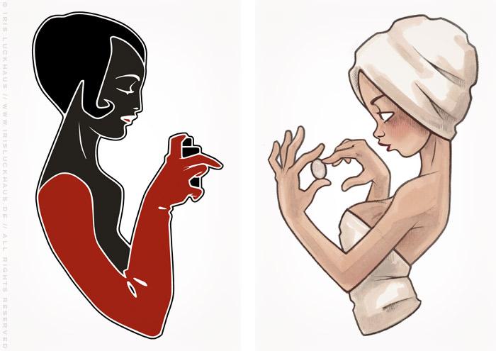 Zeichnungen von Mädchen beim Schönmachen mit Parfum, Schminke und Make-Up