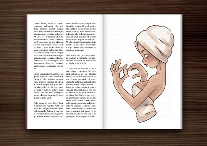 Magazinseite mit der Bleistift Zeichnung von einem Mädchen in Badetuch und Turban mit Make-Up